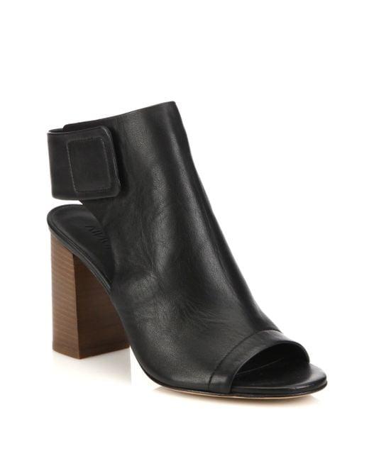 VINCE | Black Faye Open-toe Leather Booties | Lyst