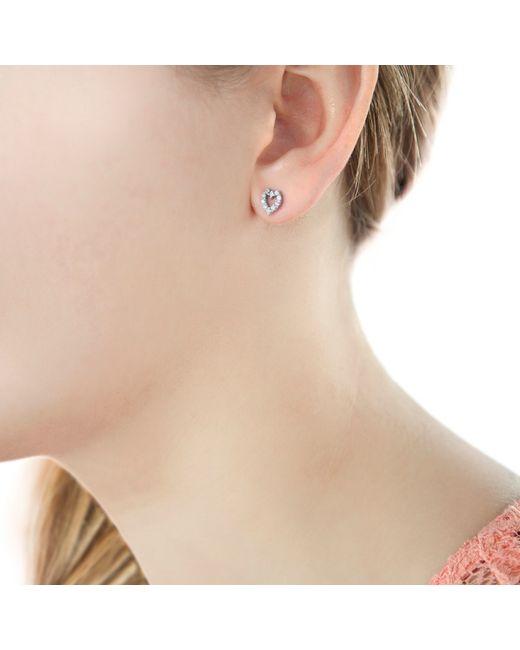 Ib&b | Metallic 9ct White Gold Small Heart Stud Earrings | Lyst