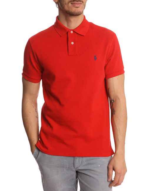 Polo Ralph Lauren Slim Fit Red Polo Shirt In Red For Men