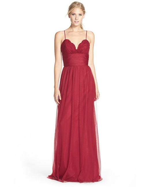 Amsale | Red Lace and Tulle Gown | Lyst