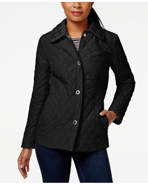 Anne Klein Quilted Snap Front Jacket In Black Lyst