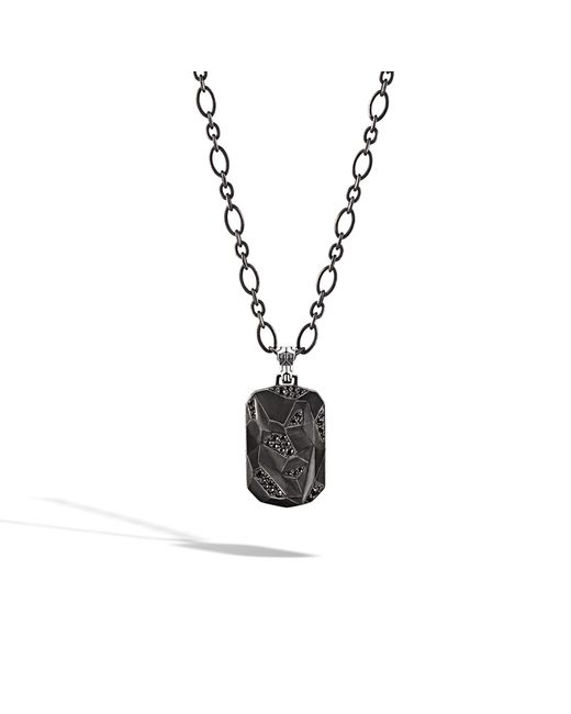 John Hardy | Classic Chain Dog Tag Pendant Necklace With Black Sapphire for Men | Lyst