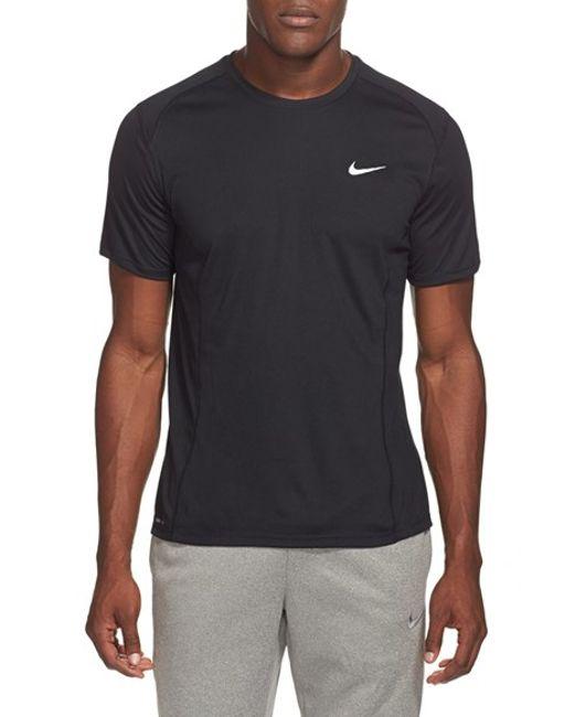 Nike | Black 'miler' Dri-fit Uv Protection T-shirt for Men | Lyst