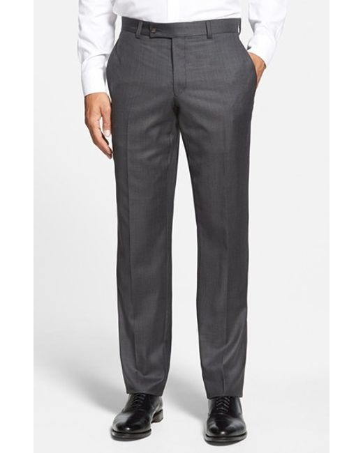 Ted Baker | Gray 'jefferson' Flat Front Wool Trousers for Men | Lyst