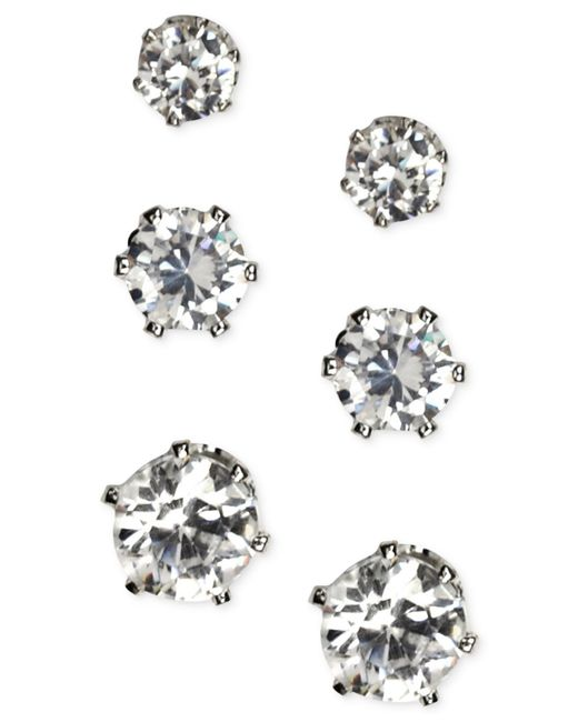 Anne Klein | Metallic Silver-tone Glass Stone Stud Earring Set | Lyst