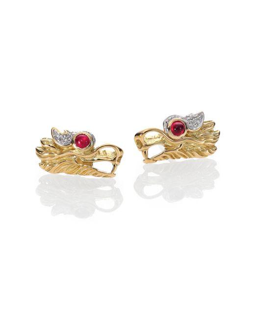 John Hardy | Metallic Naga Ruby, Diamond, Sterling Silver & 18k Yellow Gold Stud Earrings | Lyst