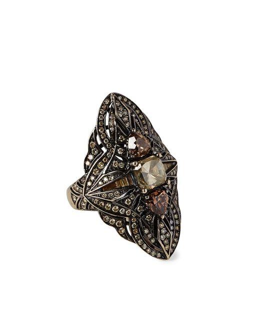 Bochic   Black Diamond Rhodium-plated 18kt Gold Ring   Lyst