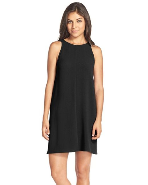 Charles Henry | Black Crepe Sleeveless Dress | Lyst