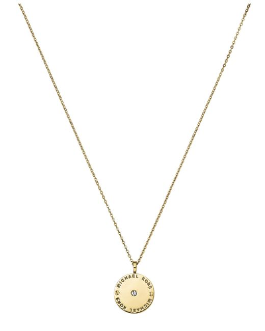 Michael Kors | Metallic Heritage Gold Logo Pendant Necklace | Lyst