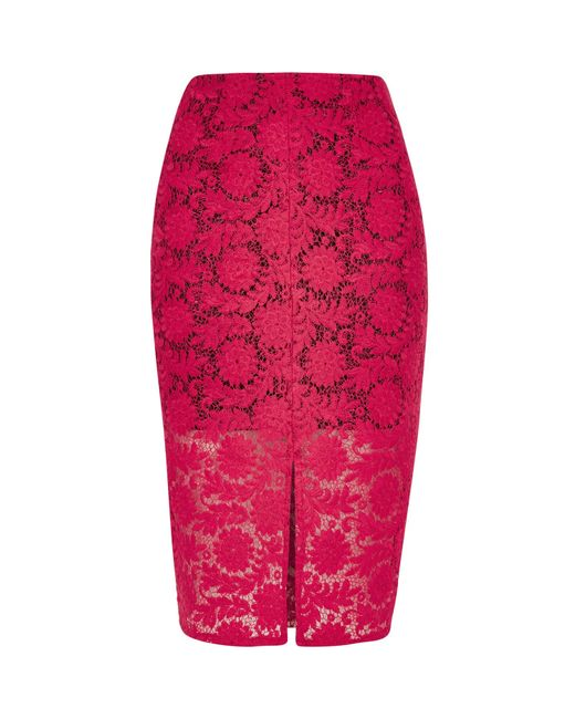 river island pink lace pencil skirt in lyst