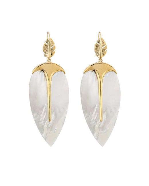 Aurelie Bidermann | Metallic Talitha 18kt Gold Plated Earrings With Mother Of Pearl | Lyst
