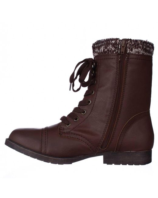 Rampage | Brown Jeliana Combat Military Boots | Lyst