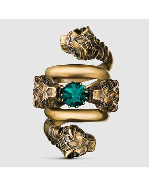 Gucci | Metallic Double Wrap Ring With Tiger Heads for Men | Lyst