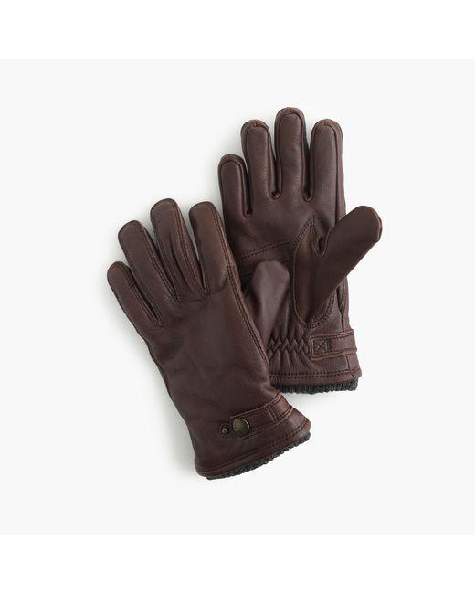 J.Crew | Brown Hestra Leather Primaloft Ribbed Gloves for Men | Lyst