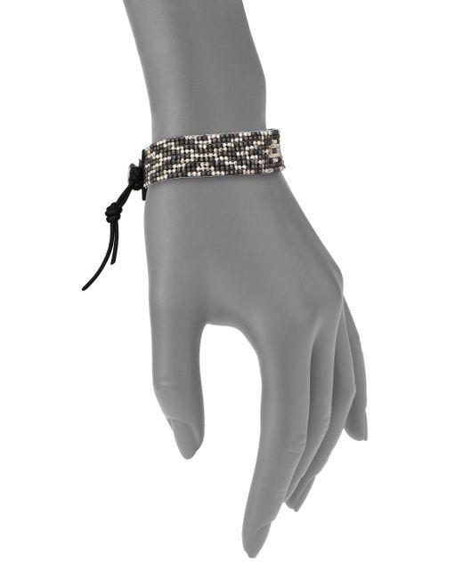 Chan Luu   Metallic Gunmetal, Sterling Silver & Leather Multi-row Beaded Bracelet   Lyst