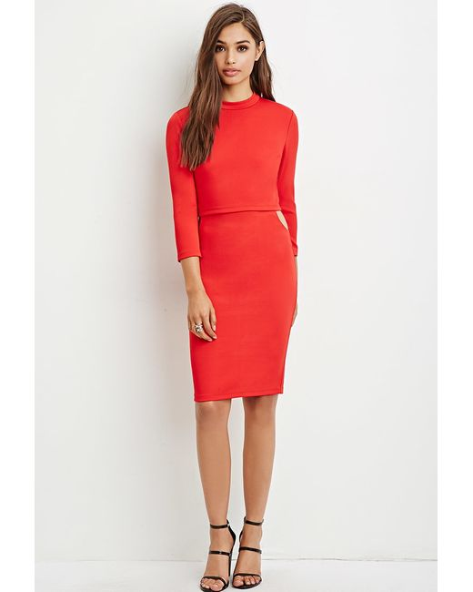 Forever 21 | Layered Cutout Midi Dress | Lyst