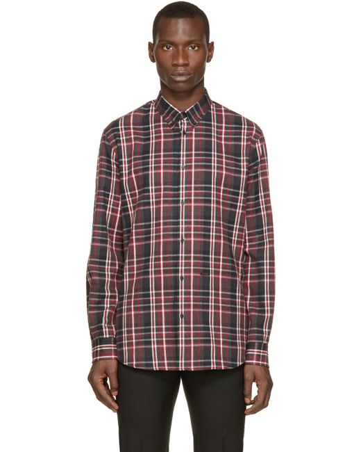 Dsquared Red Grey Flannel Check Shirt In Red For Men