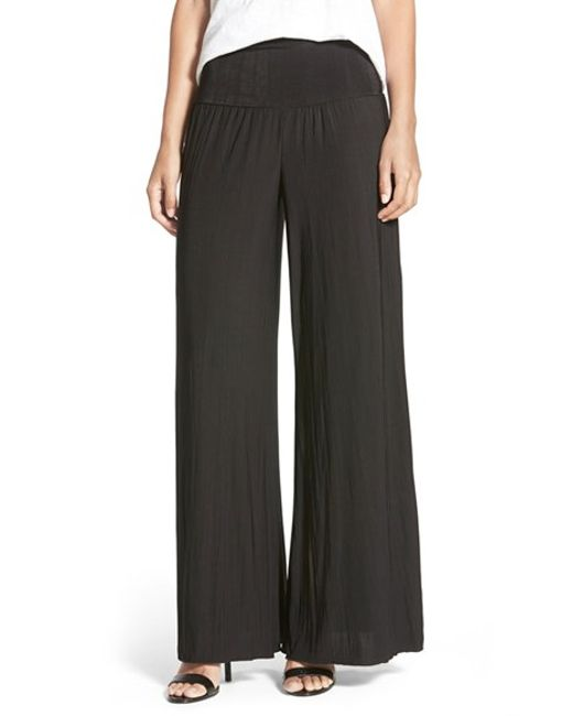 NIC+ZOE | Black 'feel Good' Foldover Waist Textured Knit Pants | Lyst
