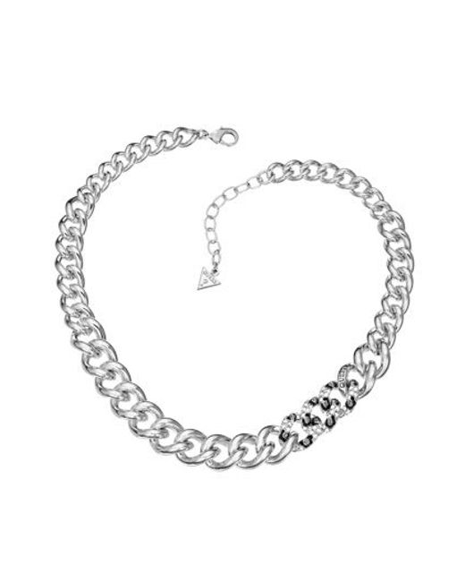 Guess | Metallic Rhodium Necklace | Lyst