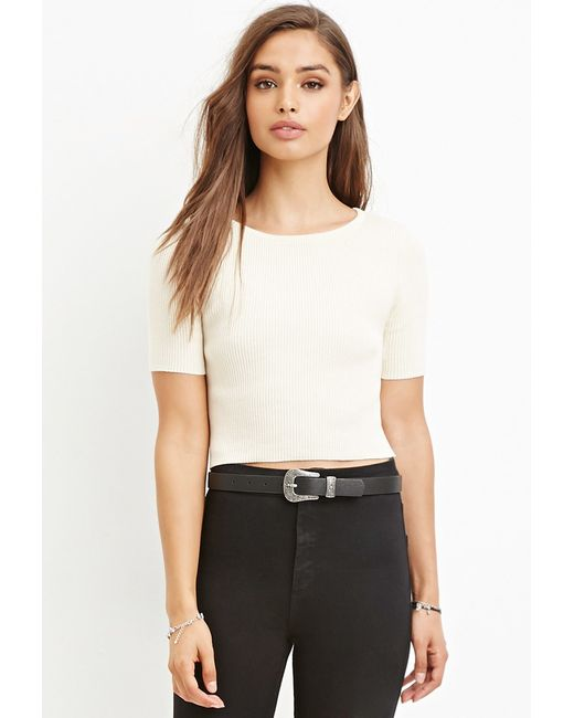 Forever 21 | White Ribbed Sweater Crop Top | Lyst