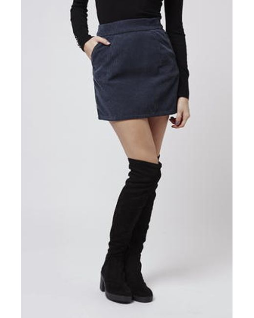 topshop moto cord a line skirt in blue navy blue lyst