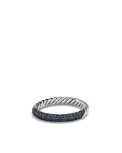 David Yurman | Petite Pavé Ring With Blue Sapphires | Lyst