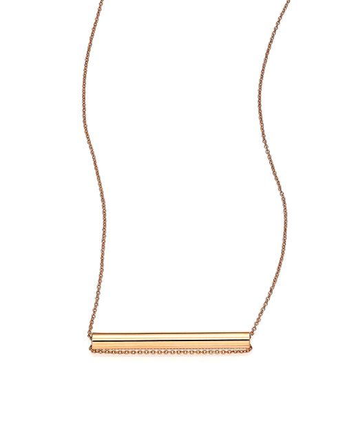 Ginette NY | Metallic 18k Rose Gold Straw Pendant Necklace | Lyst