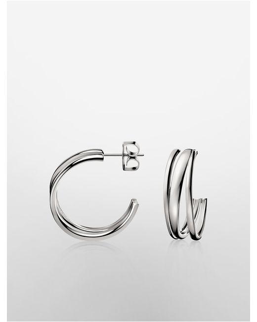 Calvin Klein | Metallic Platinum Sumptuous Earrings | Lyst