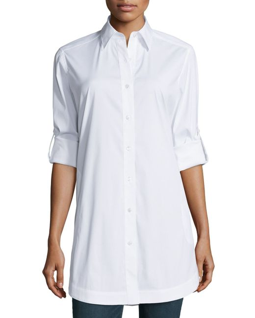 Lafayette 148 New York | White Jaycee Rolled-sleeve Tunic | Lyst