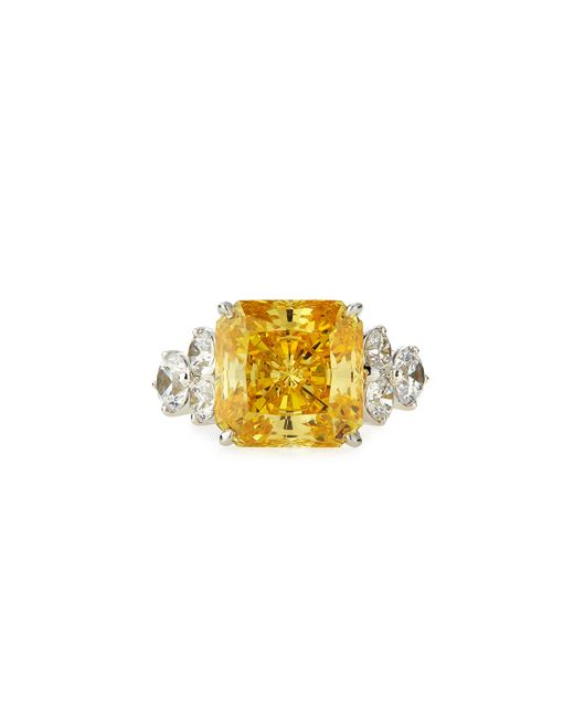 Fantasia by Deserio | White Square-cut Canary Cz Ring | Lyst