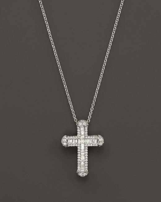 Roberto Coin | 18k White Gold Classic Cross Pendant Necklace With Diamonds, 18"