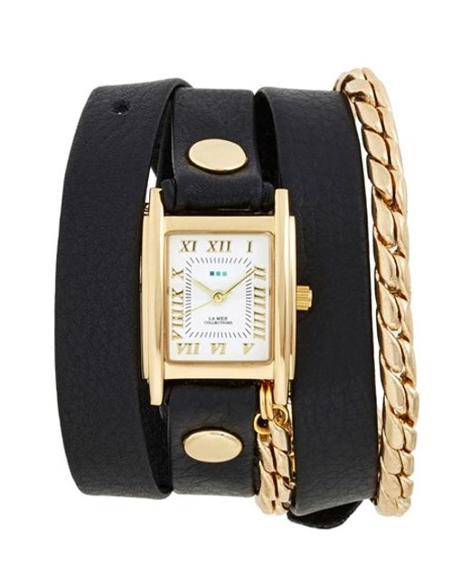 La Mer Collections | Black Leather & Chain Wrap Watch | Lyst