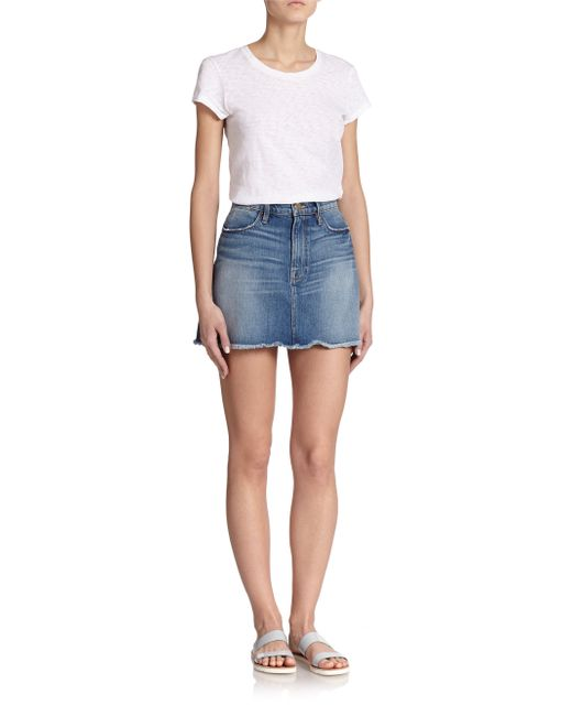 Frame Le Panel Button-front Denim Skirt in Blue - Save 17% | Lyst