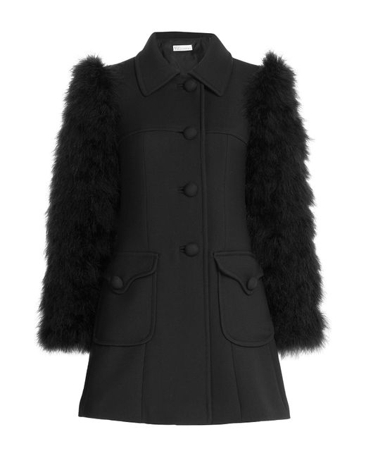RED Valentino | Wool Coat With Feather Sleeves - Black | Lyst