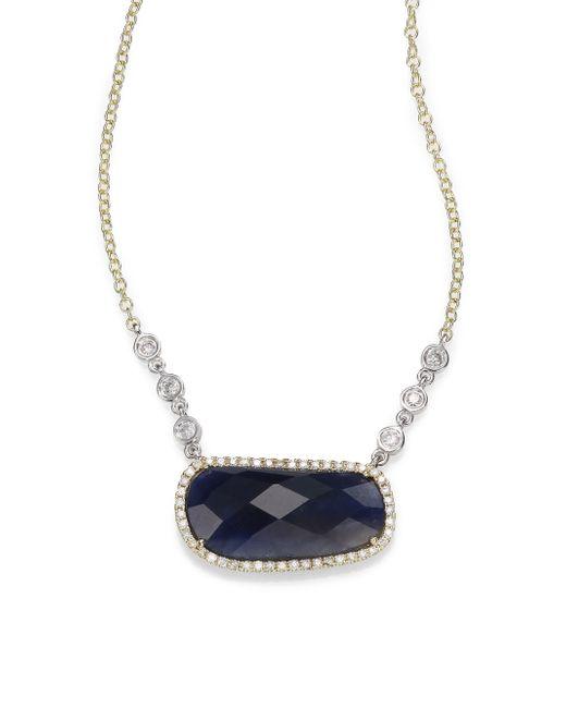 Meira T | Metallic Sapphire, Diamond & 14k Yellow Gold Pendant Necklace | Lyst
