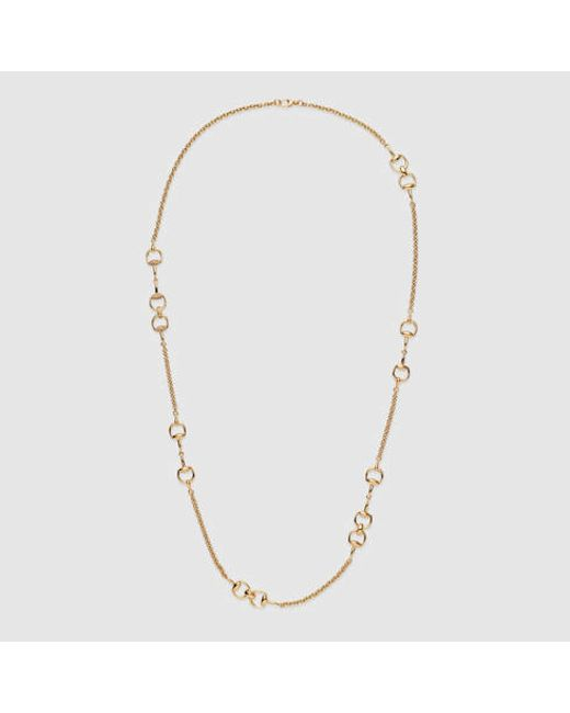 Gucci | Metallic Gold And Diamond Horsebit Necklace | Lyst