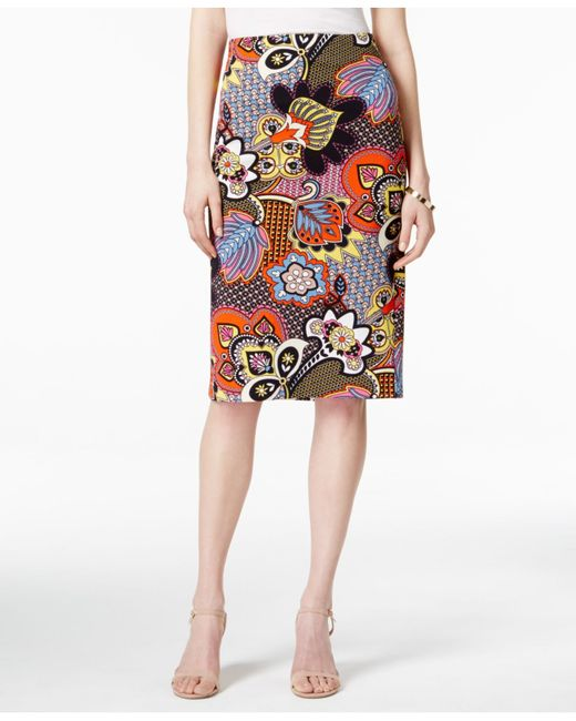 eci printed textured pencil skirt in multicolor multi