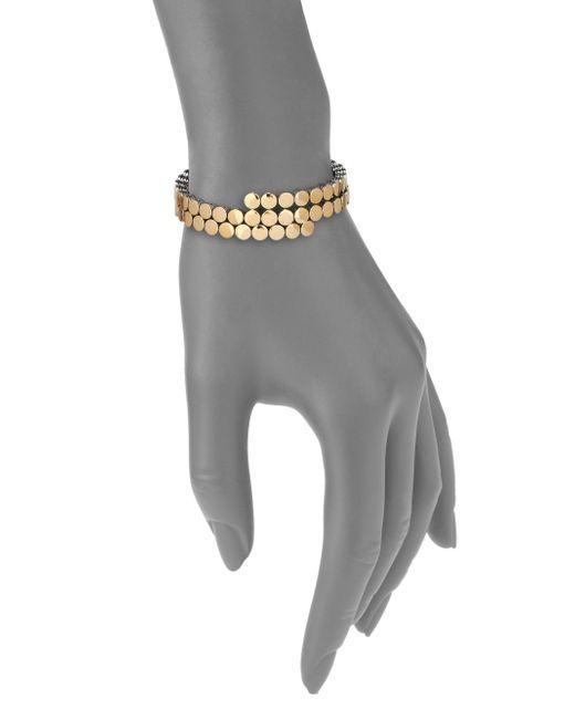 John Hardy | Metallic Dot 18k Yellow Gold & Sterling Silver Two-row Coil Bracelet | Lyst