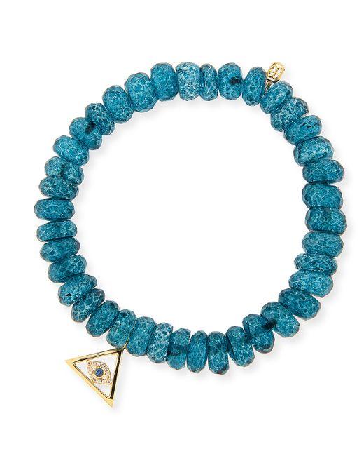 Sydney Evan | 8mm Faceted London Blue Quartz Beaded Bracelet With 14k Gold Pyramid Evil Eye Charm | Lyst
