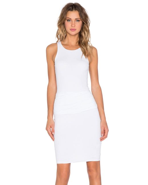 ruched belt dress in white lyst