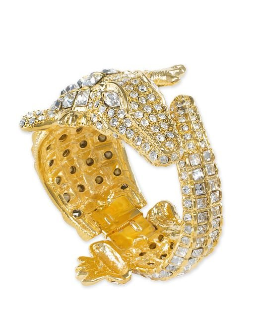 Kenneth Jay Lane | Metallic Crystal Alligator Bracelet | Lyst