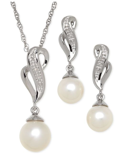 Macy's | Metallic Cultured Freshwater Pearl (7-8mm) And Diamond Accent Jewelry Set In Sterling Silver | Lyst