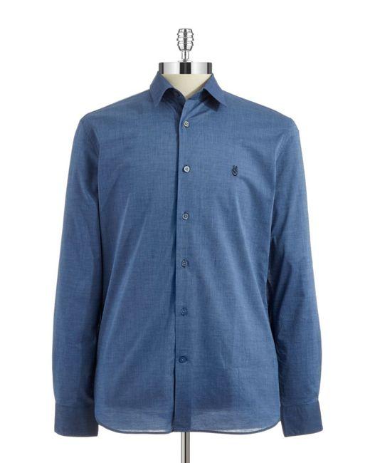 John Varvatos | Blue Textured Sportshirt for Men | Lyst