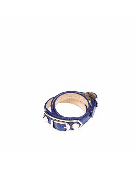 Balenciaga | Blue Classic Metallic Edge Bracelet Triple Tour | Lyst