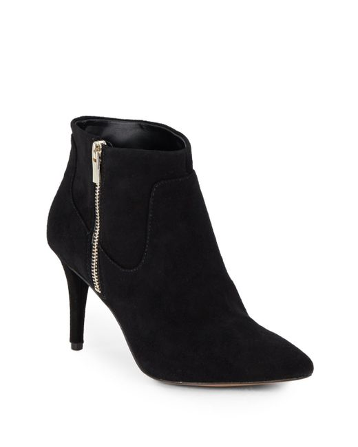 nine west piranha point toe suede ankle boots in black