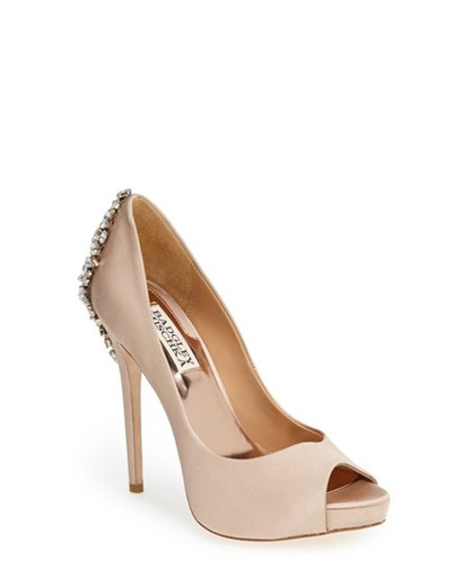 Badgley Mischka | Natural 'kiara' Crystal Back Open Toe Pump | Lyst
