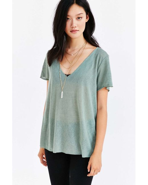 Project Social T | Green Textured-knit V-neck Tee | Lyst