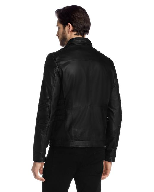 Boss regular fit leather jacket 39 narveyn 39 from the for Hugo boss mercedes benz jacket