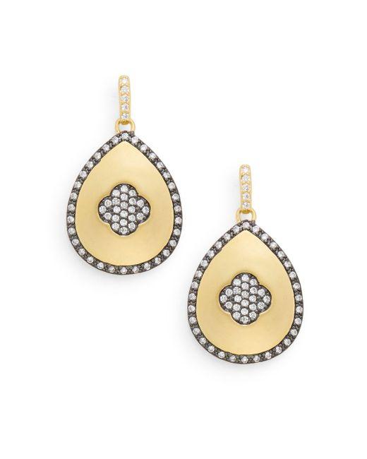 Freida Rothman   Metallic Pavé Clover Teardrop Earrings   Lyst
