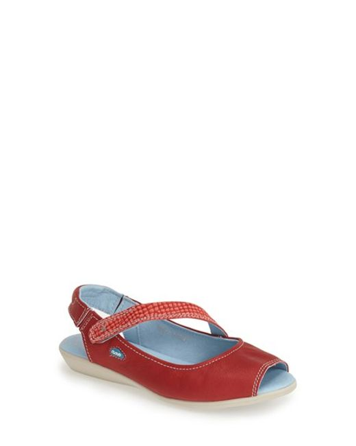 Cloud | Red 'Catarina' Leather Slingback Flat | Lyst